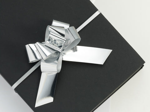 Metallic Silver Large Pull Bows