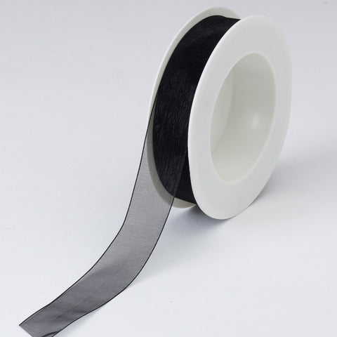 Plain Chiffon Black Ribbon (25mm x 25m)