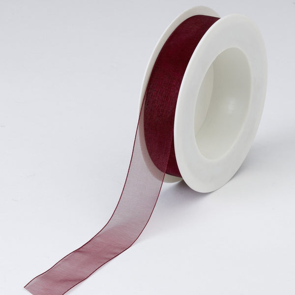 Plain Chiffon Burgundy Ribbon (25mm x 25m)