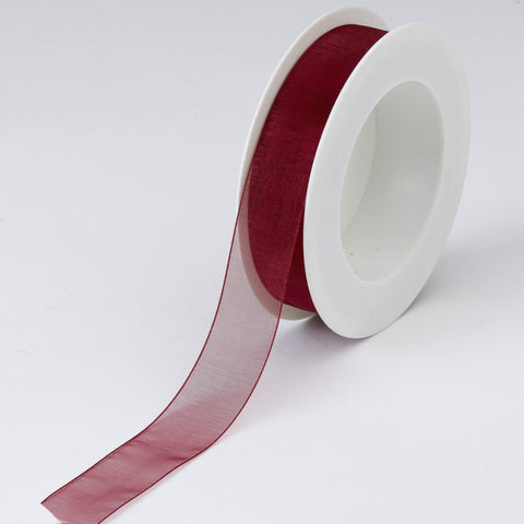 Plain Chiffon Cherry Ribbon (25mm x 25m)