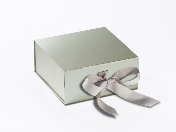 Small Pearlescent Silver Luxury Gift box with magnetic closure, and ribbon (Pack of 12)