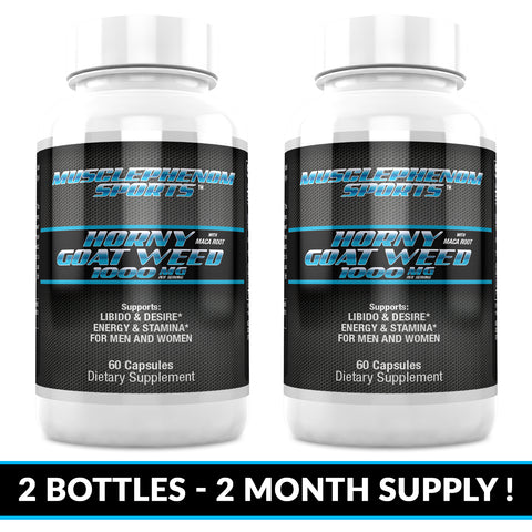 HORNY GOAT WEED 2 60CT BOTTLES 120 CAPSULES 2 MONTH SUPPLY - MusclePhenom Sports