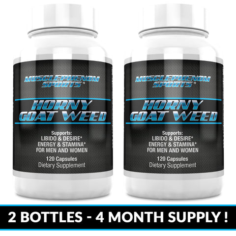 HORNY GOAT WEED 1600 2 -120CT BOTTLES 240 CAPSULES -4 MONTH SUPPLY - MusclePhenom Sports