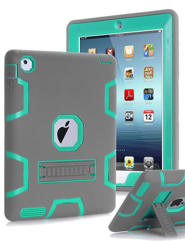 iPad 2 Case , iPad 3 Case, iPad 4 Case Shockproof three layerswith Stylus and Screen Protector - Grey/Green