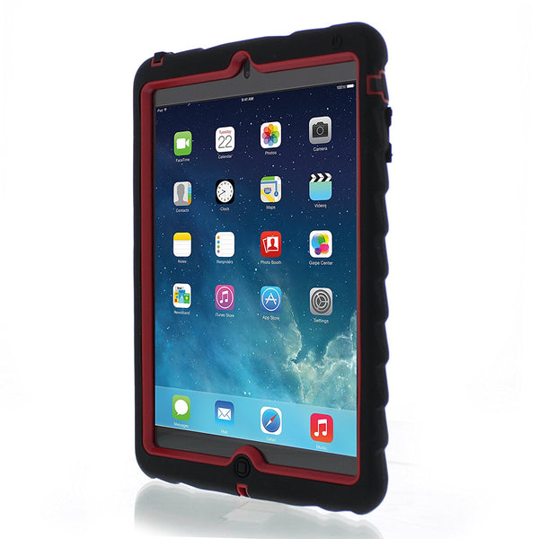 Apple iPad mini Case Silicone Dual Layer Cover Case Color Black/Red