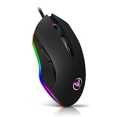 HXSJ Gaming Mouse USB Wired Mouse 6 Buttons 4800DPI Optical USB Wired Desktop Mice Macro settings RGB Backlit For game player