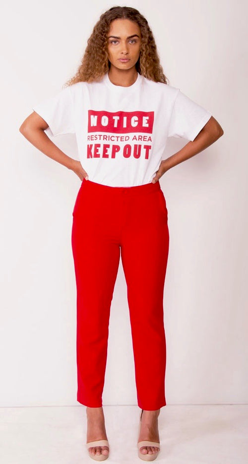 NOTICE RESTRICTED AREA KEEP OUT TEE