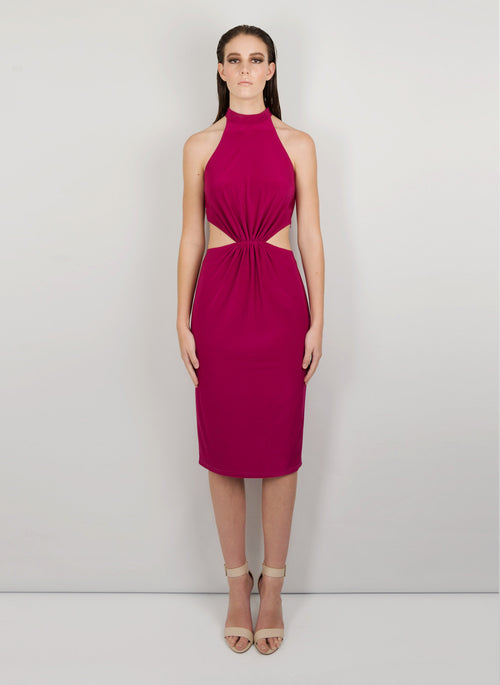MADOLA-THE-LABEL. ELISA DRESS. Front/back flirty cut-outs. Fully lined, side invisible zipper. Front Gathers. Designed in Australia