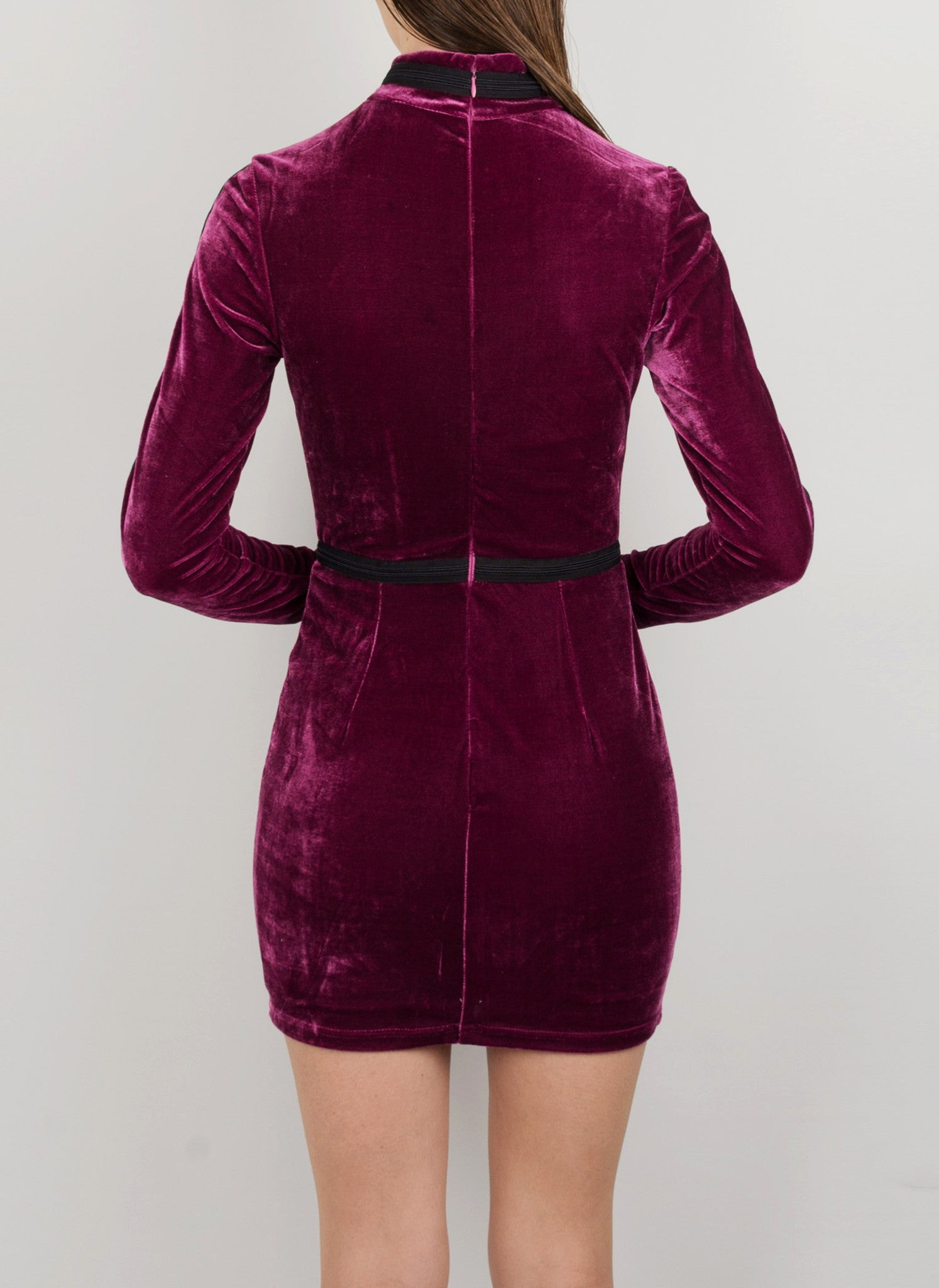 MADOLA-THE-LABEL. JOANA DRESS. Premium purple velvet fabric. Fully lined, Long Sleeve. Designed in Australia