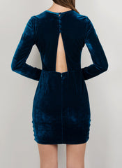 MADOLA-THE-LABEL. JULIA DRESS. Premium blue velvet fabric. Long sleeve dress, buttons. Fully lined. Designed in Australia