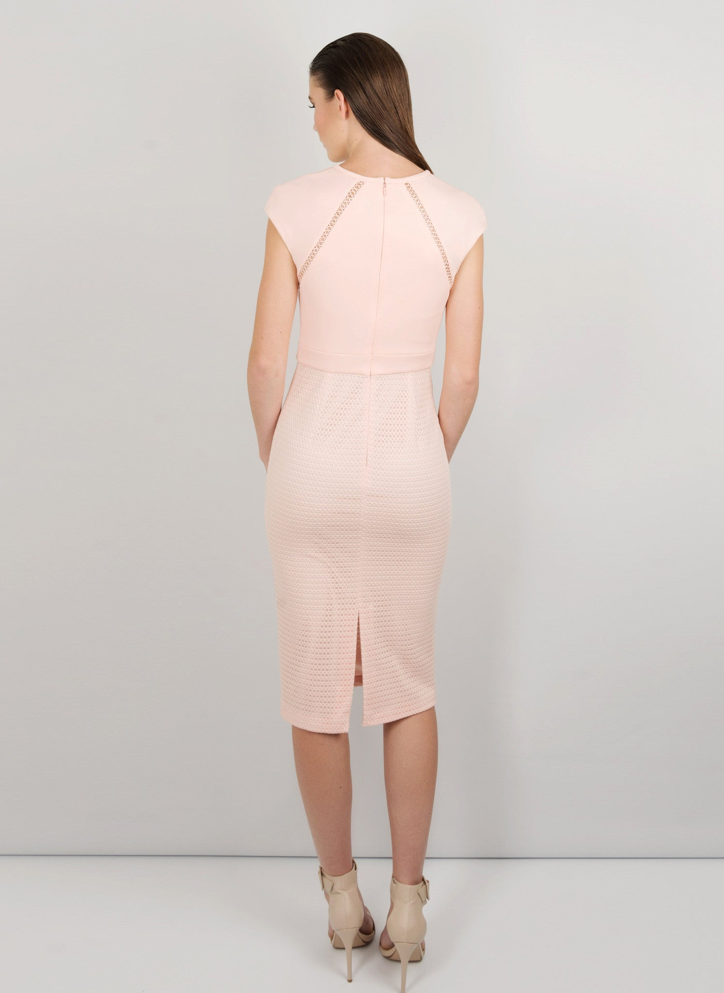 MADOLA-THE-LABEL. RAYSSA DRESS. Lattice trim detailing. Fully lined, below-the-knee hemline, split back. Designed in Australia