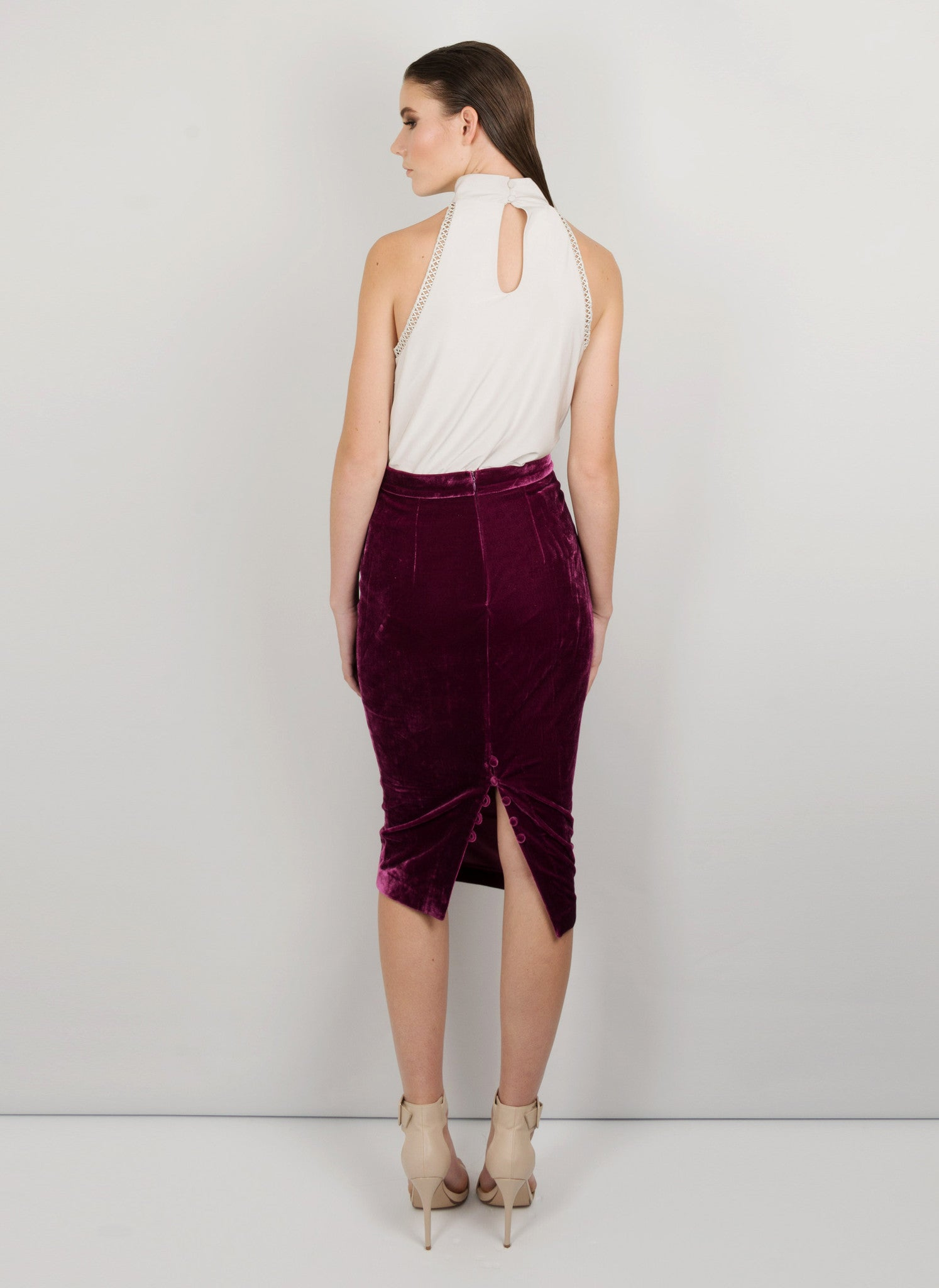 MADOLA-THE-LABEL - REBECA PENCIL SKIRT. Premium velvet fabric. Adjustable slit using buttons. Fully lined. Designed in Australia.