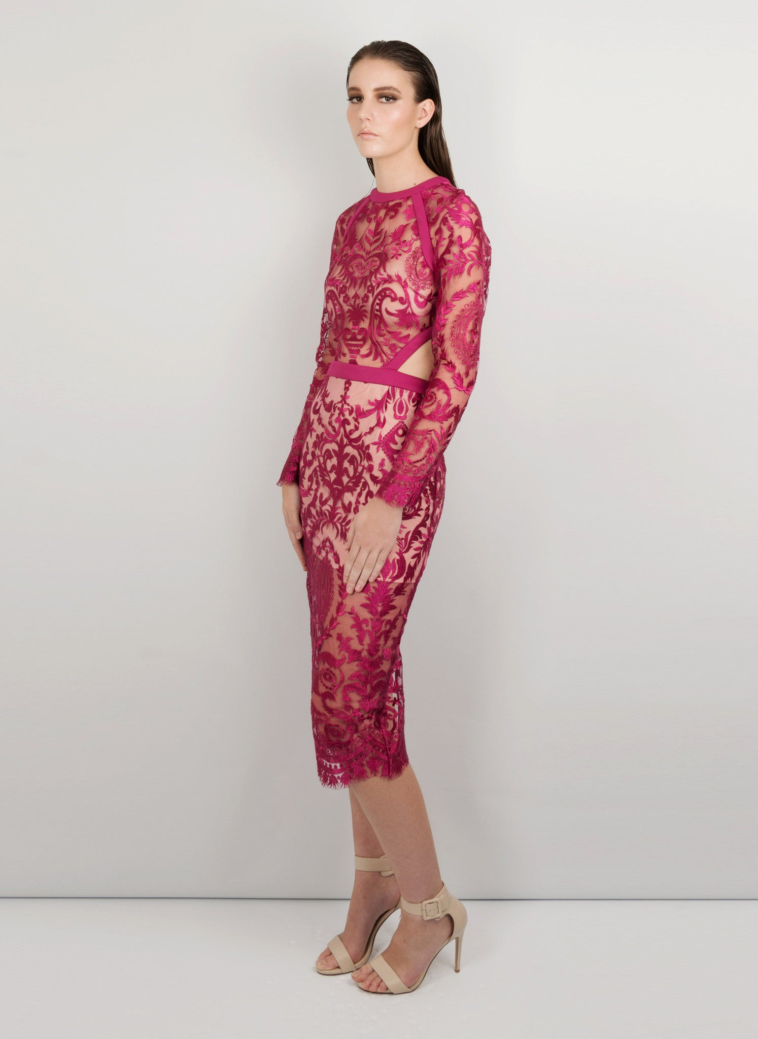 MADOLA-THE-LABEL - SOPHIA DRESS. Delicate embroidery mesh fabric. Front/back cut-outs. Bodice transparent, nude colour mesh lining. Designed in Australia