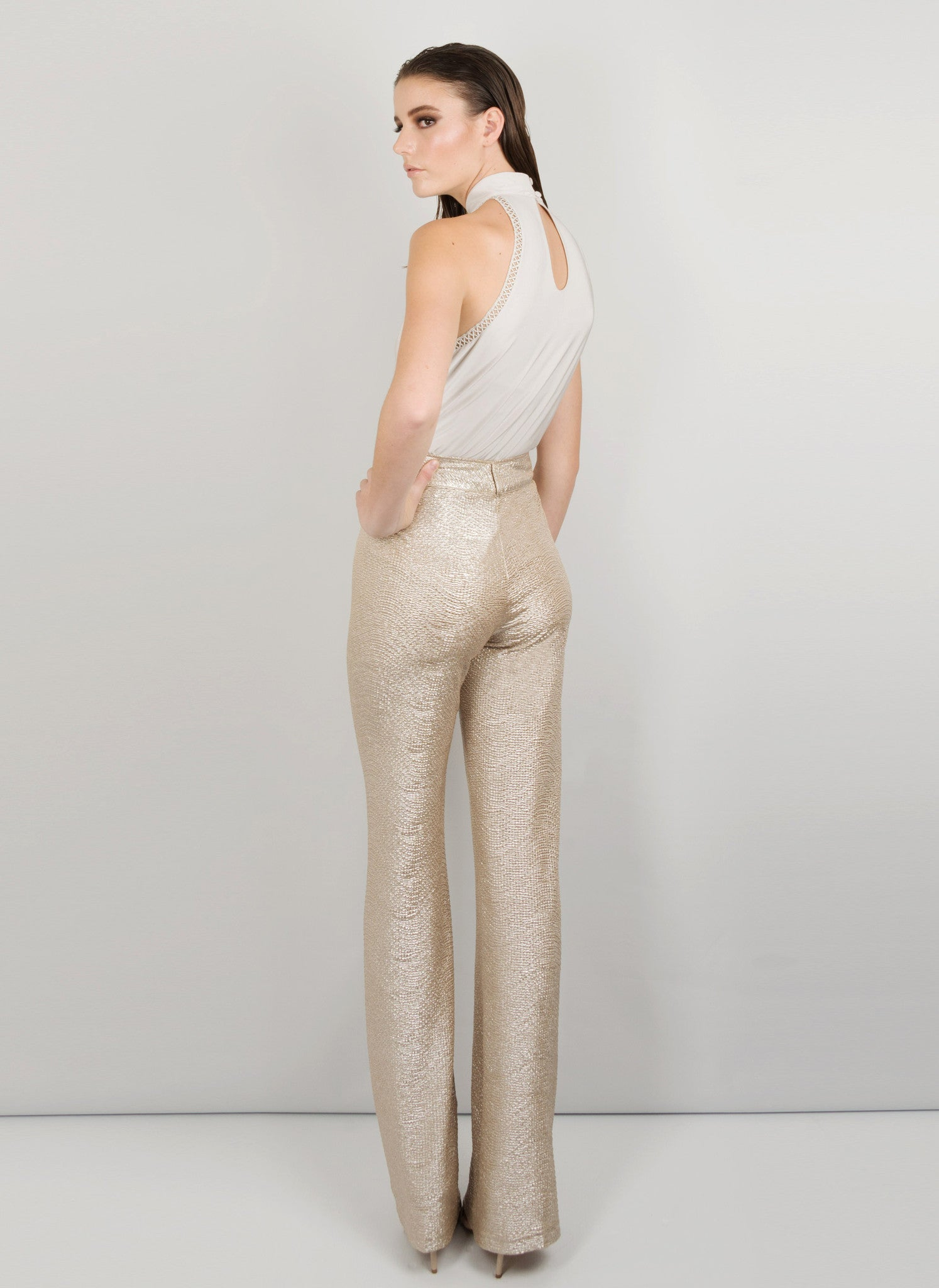 MADOLA-THE-LABEL - STELLA PANT. High waist, luxurious textured metallic fabric, flared leg, lightweight, fitted hip. Designed in Australia.