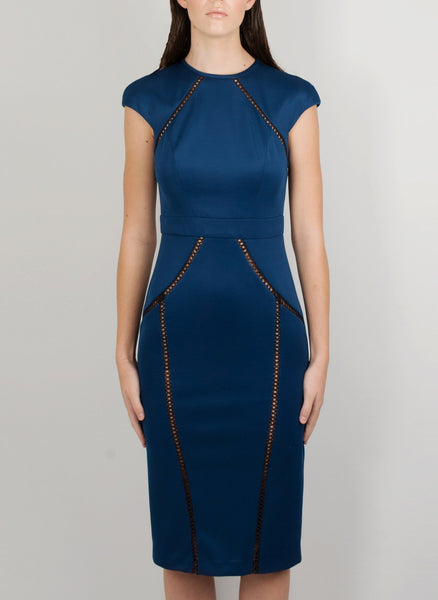 MADOLA-THE-LABEL - VALENTINA DRESS. Intricate lattice trim detailing front/back, body-hugging, fully lined. Designed in Australia.