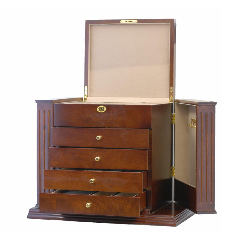 Cambridge Five Drawer Wooden Jewellery Box Brown 45cm Open PTJB050