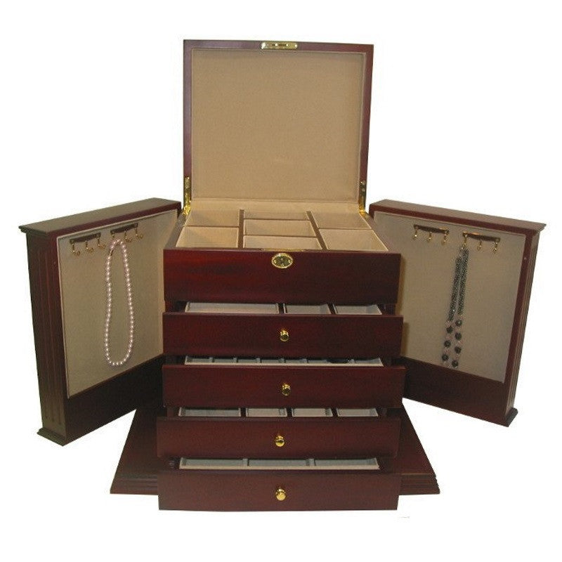 Cambridge Large Five Drawer Wooden Jewellery Box, Cherry, 45cm