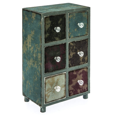 Casa Uno Distressed Six Drawer Jewellery Holder 35cm Closed LH75