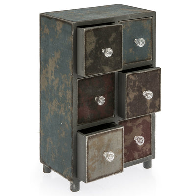 Casa Uno Distressed Six Drawer Jewellery Holder 35cm Open LH75