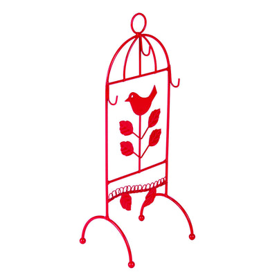 Casa Uno Metal Bird Jewellery Stand Red 29cm WH02