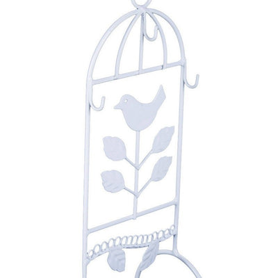 Casa Uno Metal Bird Jewellery Stand White 29cm Zoom WH03