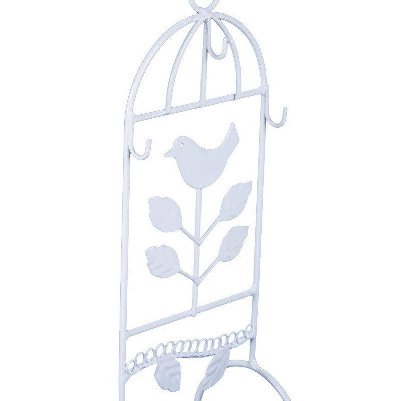 Casa Uno Metal Bird Jewellery Stand, White, 29cm