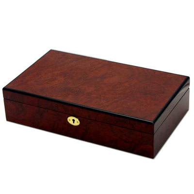 Pearl Time 12 Watch Box Black Interior Brown Piano Finish 34cm Closed PW001B