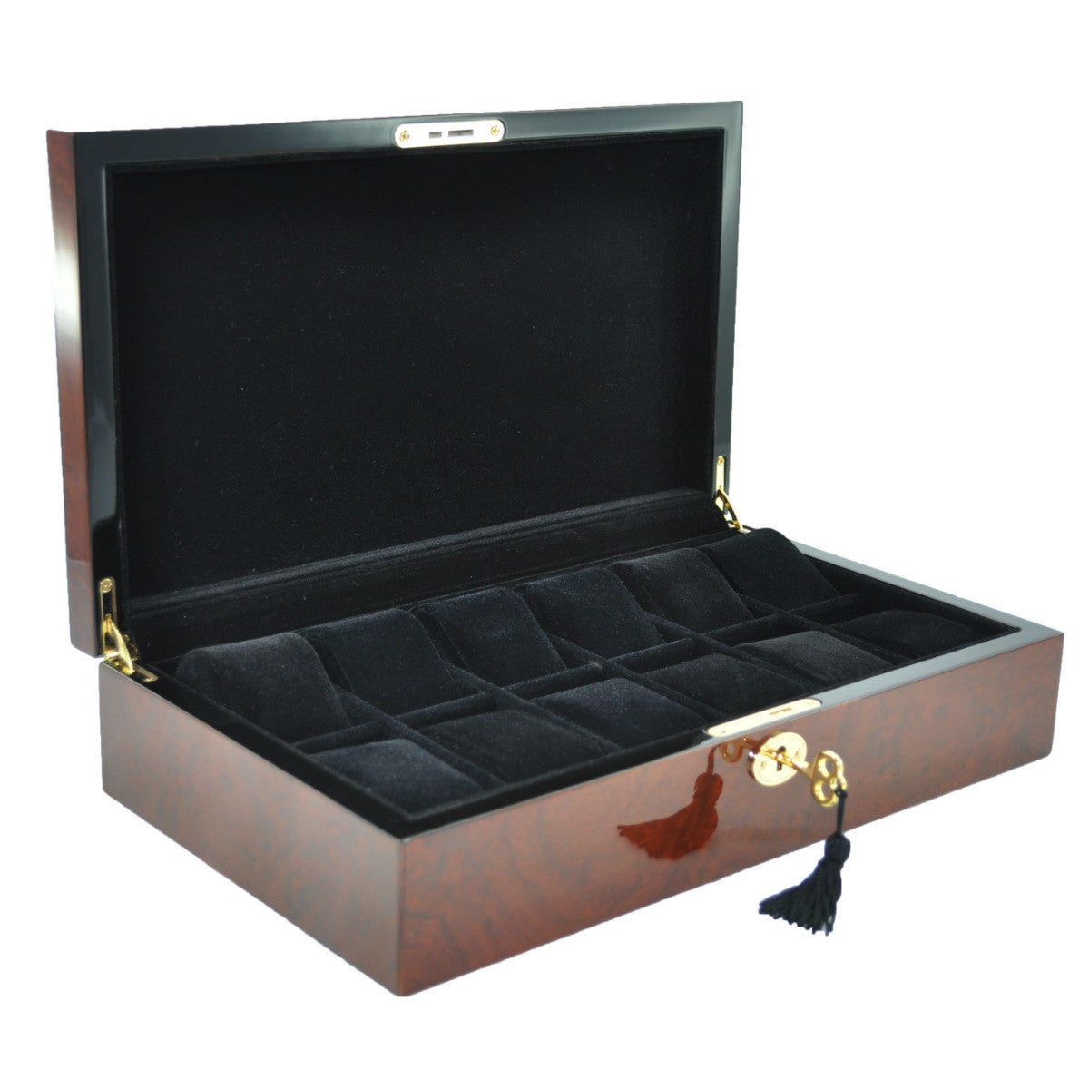 Pearl Time 12 Watch Box Black Interior Brown Piano Finish 34cm Open PW001B