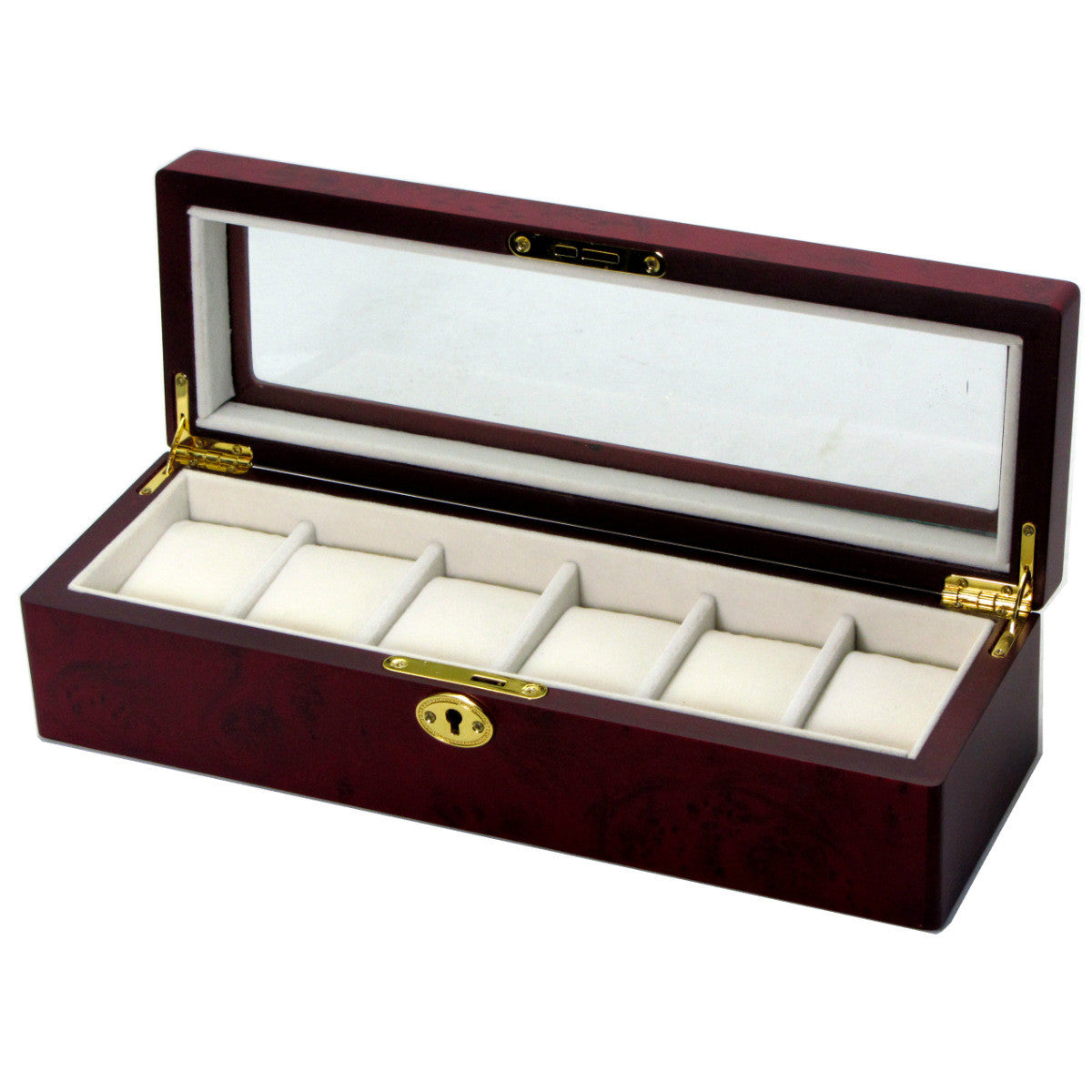 Pearl Time 6 Watch Box Glass Lid Cherrywood 34cm Open PW003B