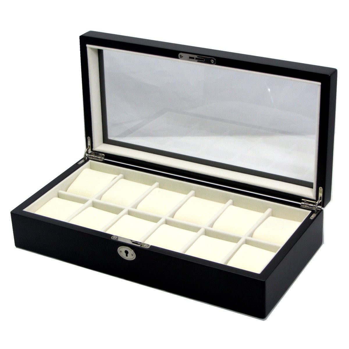 Pearl Time 12 Watch Box Glass Lid Matt Black 39cm Open PWB12BLK