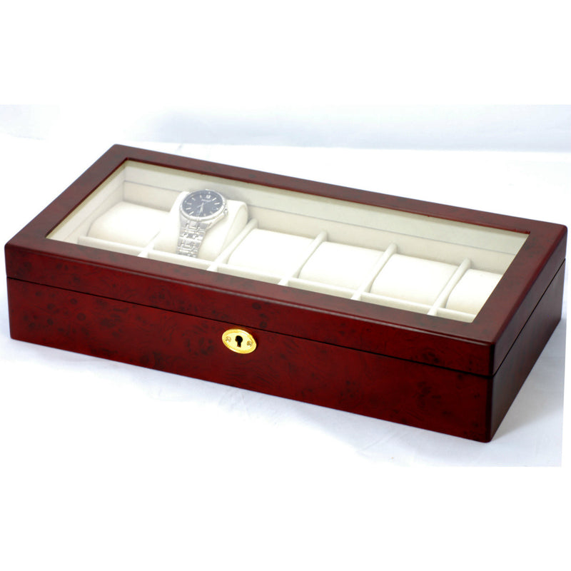 Pearl Time 12 Watch Box Glass Lid, Matt Cherrywood, 39cm