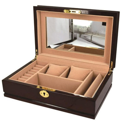 Pearl Time Jewellery Box Beige Interior Gloss Walnut Finish 28cm PJ021 Open