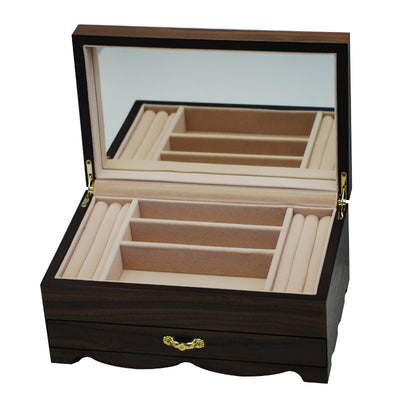 Pearl Time Jewellery Box Beige Interior Matt Dark Veneer Finish 25cm PJ023 Open