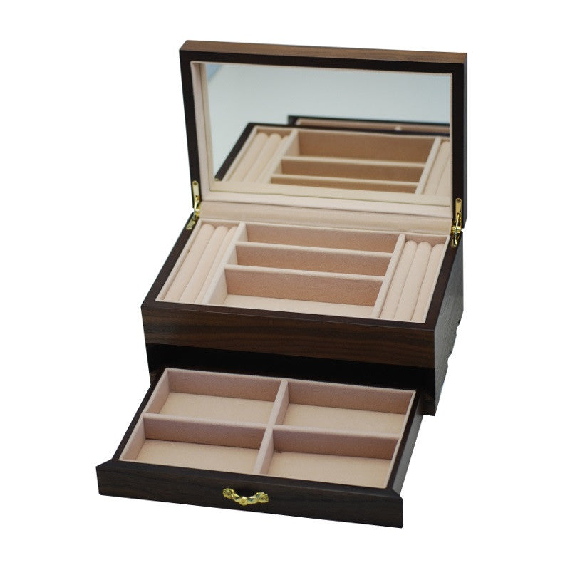 Pearl Time Jewellery Box Beige Interior Matt Dark Veneer Finish 25cm PJ023 Open Drawer