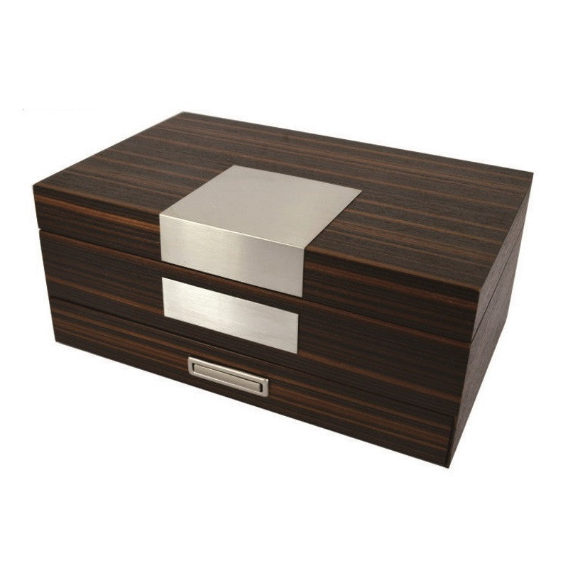 Pearl Time Jewellery Box Beige Interior, Matt Walnut Finish, 26cm