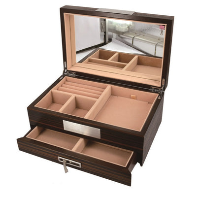 Pearl Time Jewellery Box Beige Interior Matt Walnut Finish 26cm PJ629C Open