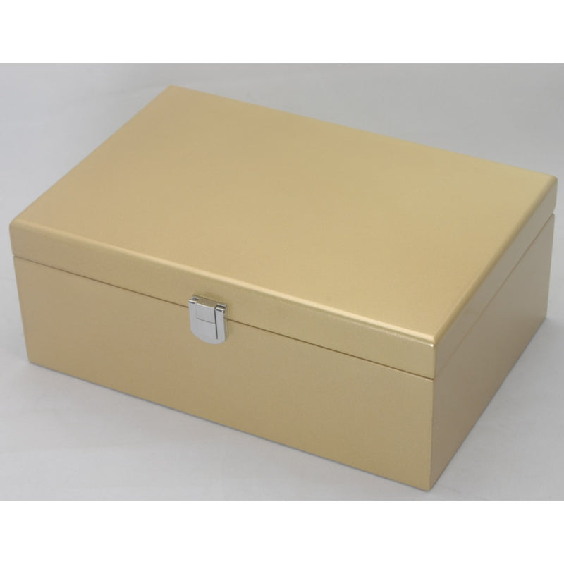 Kandi Jewellery Box Black Interior Metallic Gold Finish 25cm Open KJ03MGD