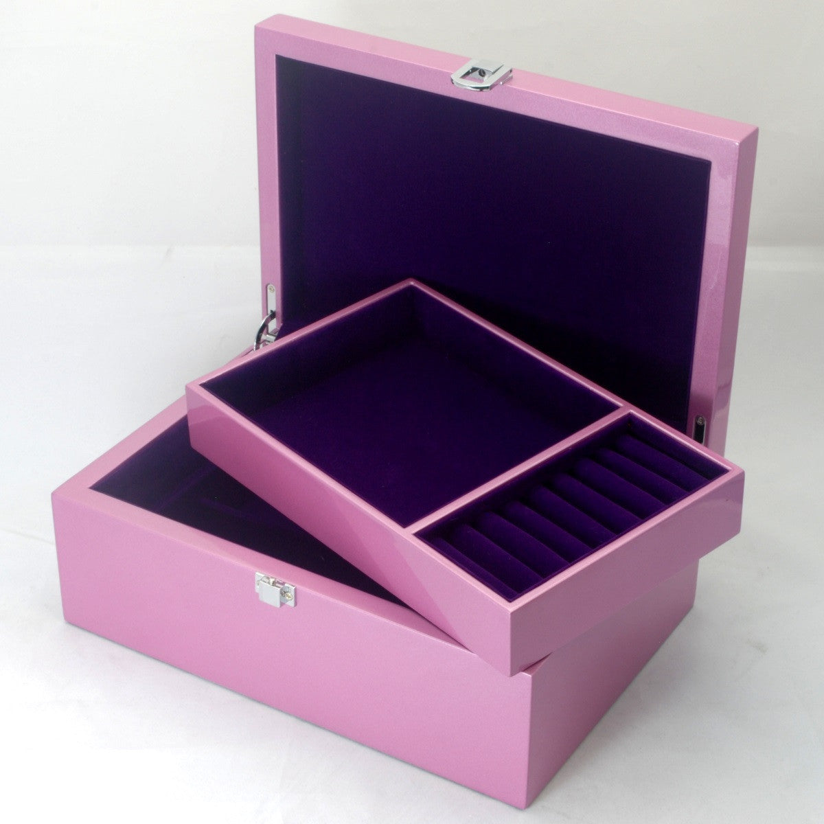 Kandi Jewellery Box Purple Interior Metallic Pink Finish 25cm Open KJ03MPK