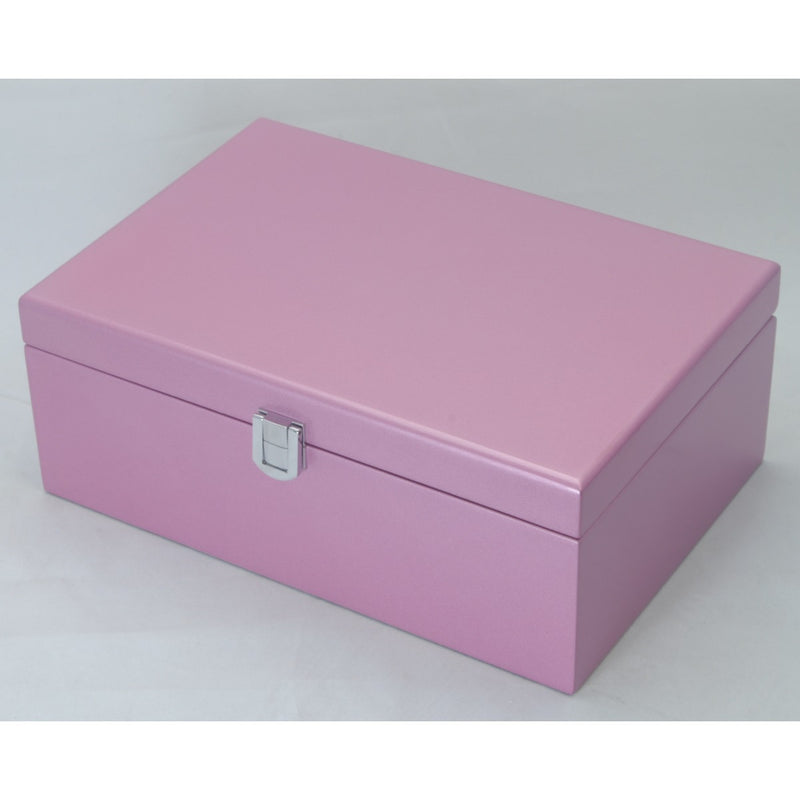Kandi Jewellery Box Purple Interior, Metallic Pink Finish, 25cm