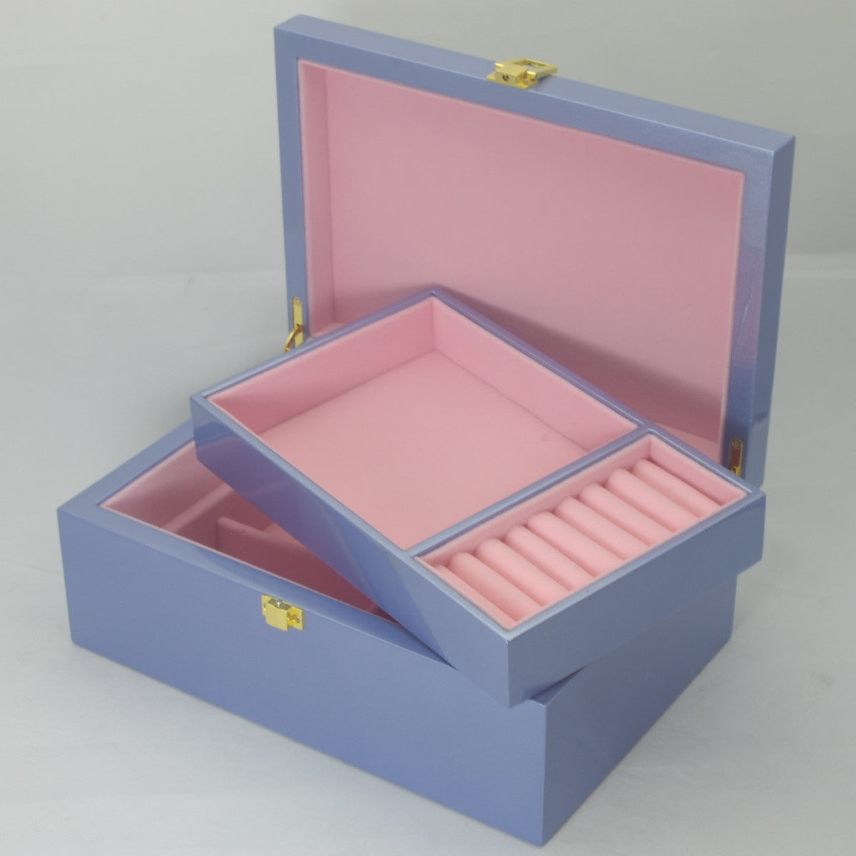 Kandi Jewellery Box Strawberry Pink Interior Metallic Blue Finish 25cm Open KJ03MBU