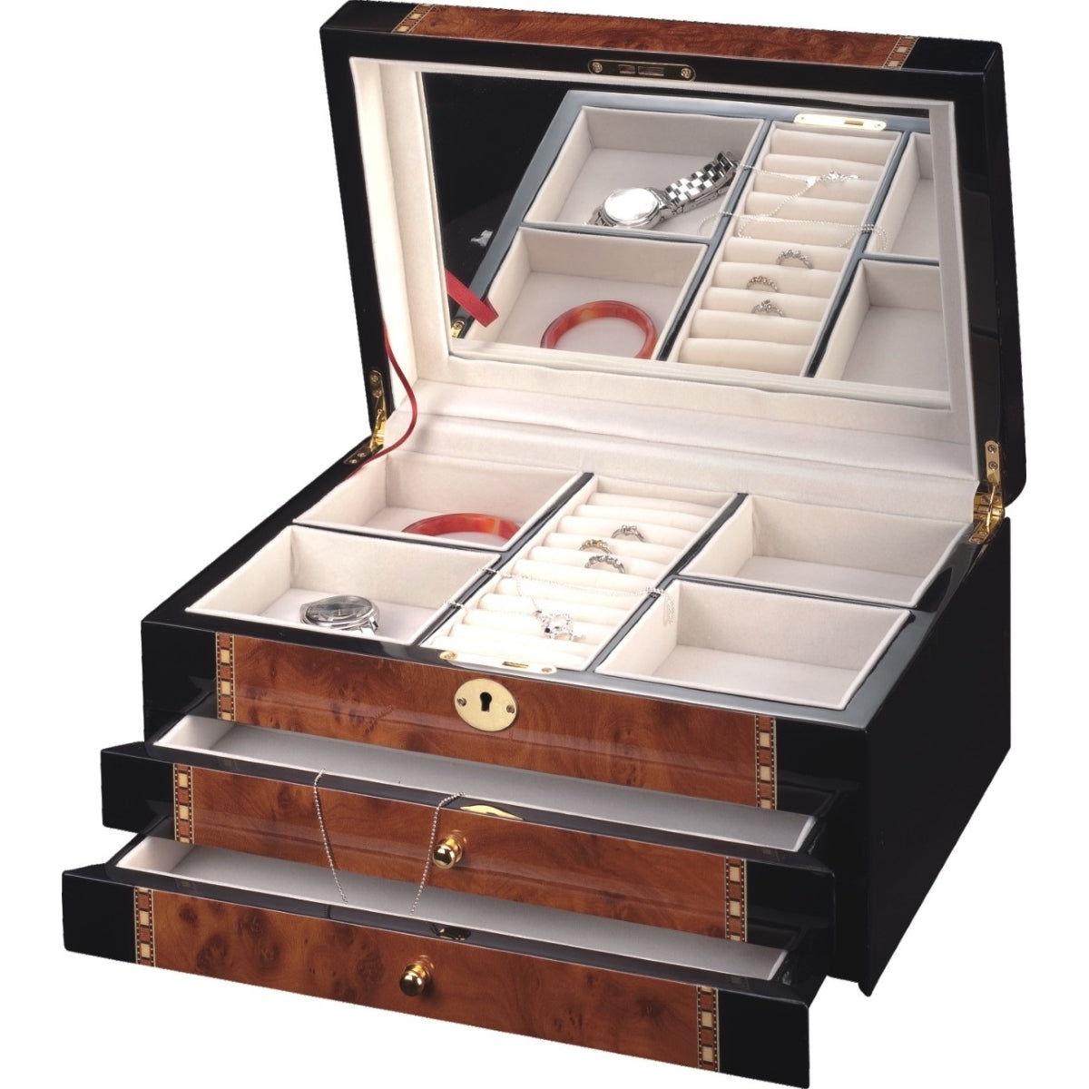 Pearl Time Large 2-Drawer Jewellery Box, Piano Black With Brown, 35cm