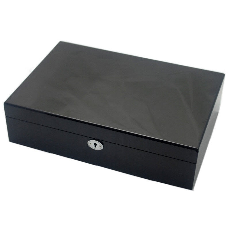 Pearl Time Mens Jewellery and Watch Box Black Finish 34cm Open PJ805