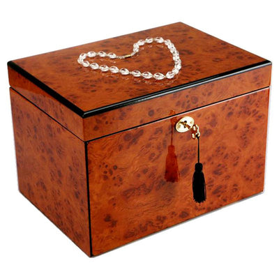 Pearl Time Multiple Drawer Jewellery Box Brown Piano Finish 28cm Closed PTJB064