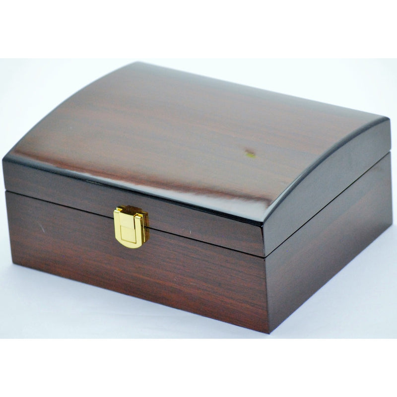 Pearl Time Jewellery And Watch Box Curved Top Dark Brown Finish 20cm Open PJ815Q