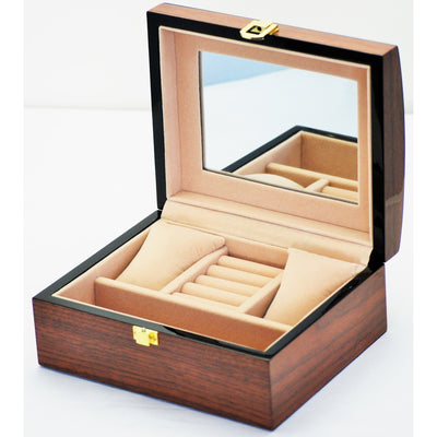 Pearl Time Jewellery And Watch Box, Curved Top Piano Brown Finish 20cm Open PJ815B