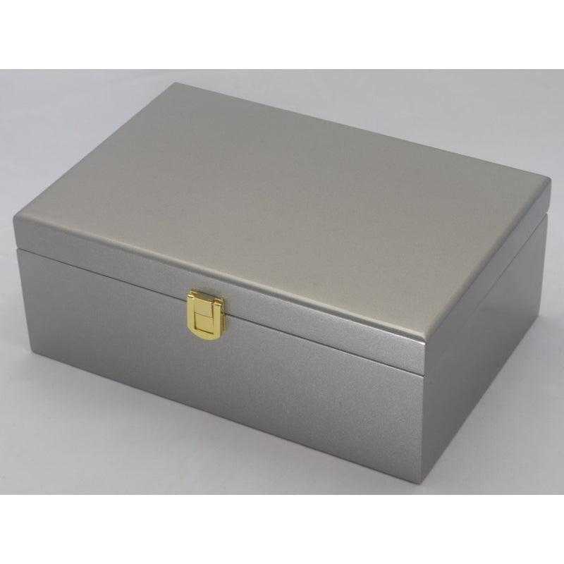 Kandi Jewellery Box, Metallic Steel Shimmer Finish, 25cm