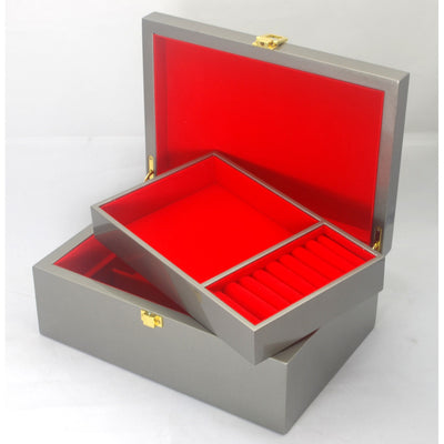Kandi Jewellery Box Metallic Steel Shimmer Finish 25cm Open KJ03MST