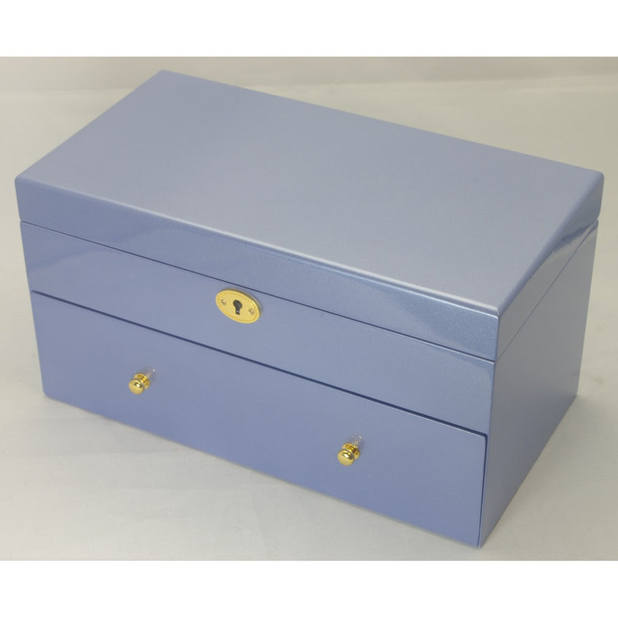 Kandi Pull Out Drawer Jewellery Box, Metallic Blue Finish, 30cm
