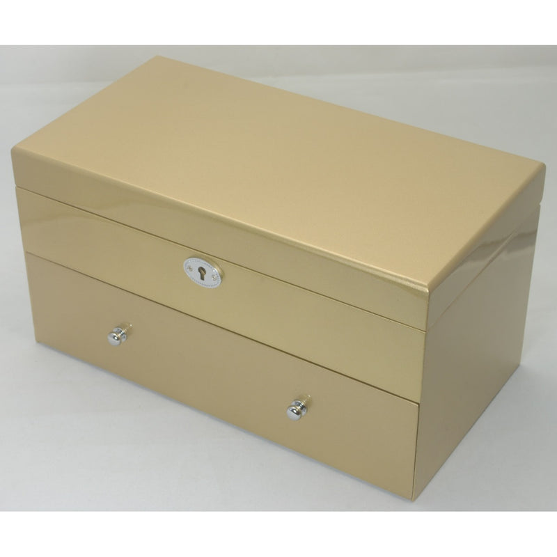 Kandi Pull Out Drawer Jewellery Box, Metallic Gold Finish, 30cm