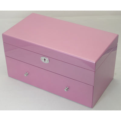 Kandi Pull Out Drawer Jewellery Box Metallic Pink Finish 30cm Closed KJ05MPK